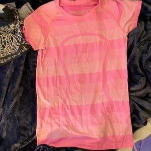 Lululemon pink striped size 6 workout shirt